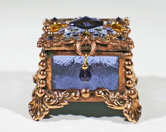 Jewel Encrusted Fairy Box-Lavendar