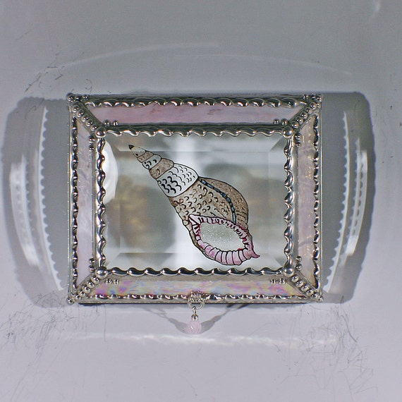 Etched,Hand Painted, Sea Shell, Bathroom accessory, Jewelry Box, Storage Box, Display Box, Stained Glass Box,