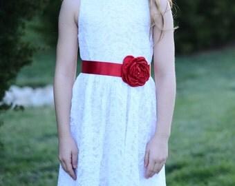 Flower Girl Navy Red Sash