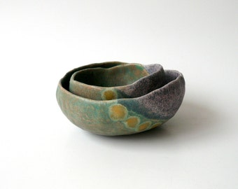 Ceramic Nesting Bowls, Set of Two Pinch Pots, Organic Shape in Purple and Green with Yellow Dots, Gift Under 50 by StudioLind