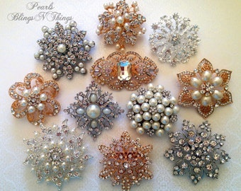 50 pcs Ex-large Large Vintage Replica Clear Crystal Pearl Rhinestones Brooch Wedding Bouquet Dress