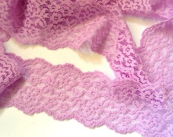 Stretch Galloon Lace, Lilac, 2 1/8 inch wide, 1 Yard For Apparel, Home Decor, Accessories, Mixed Media, Scrapbbok