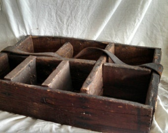 Antique tool box Large antique rough sawn wood tool or nail box