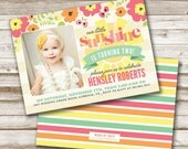 Our Little Sunshine Birthday Invitation, Girl Birthday, Yellow and Pink, Printable