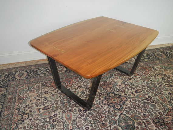 Mid century modern cherry coffee table steel and wood for Modern cherry coffee table