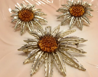Starburst 1961 Brooch and Earrings Demi Parure by Sarah Coventry