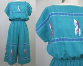 Vintage EMBROIDERED HORSES Guatemalan Cotton Jumpsuit // Novelty Teal Green Playsuit Dress // Hippie Boho Mexican Ethnic 80s 90s // M-L