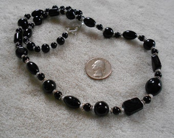 Stunning Glass Beaded Necklace-Blackest Black-N1179