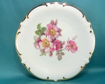 M101527 Vintage Pink Flowers Dessert Dish, Schumann Arzberg, Germany, Wild Rose Pattern, Golden Crown Lion Logo, E & R
