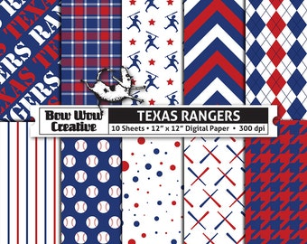 10 Texas Rangers Digital Papers for Scrapbooking, Digital Paper, Digital Scrapbook Paper, Printable Sheets, Baseball, Patterns