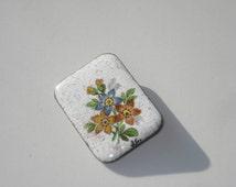 Vintage Flower Enamel Pin - Square Costume Jewelry Brooch 1980s JG