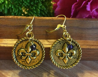 Earrings, Fleur De Lis, Round Disc, Rope Accent, Antiqued, Gold Tone, Swarvoski Crystral Jet Black Drop, Free Shipping # 120