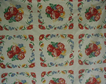 Vintage Tablecloth, Mid-Century Cotton Tablecloth, With Bright Primary Colored Flowers