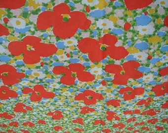 Vintage Floral Bed Sheets, 1 Flat Sheet, 1 Fitted Sheet, Queen Size, Poppy Fields, Bright Colors