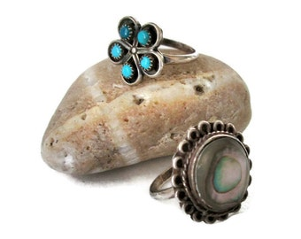 Alpaca Silver Ring Collection, 2 Mexican Rings, Southwest, Boho, Abalone and Faux Turquoise Sz 5.5 and Sz 6.25