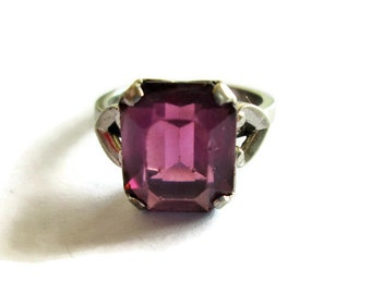 Vintage Purple Glass Ring, Sterling Silver, Faceted Glass Amethyst Solitaire Ring, Size 7
