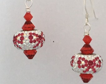 Swarovski Crystal BeCharmed Red Bow Earrings