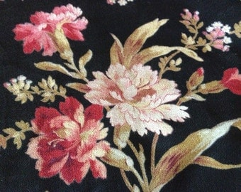 French Pink Floral Fabric, Made in France Cretonne Textile, Flowers Print Period Textile Sewing Projects Antique