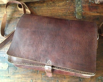 Rustic Vintage Dark Brown Full Grain Handcrafted Leather Saddle Bag Messenger Briefcase
