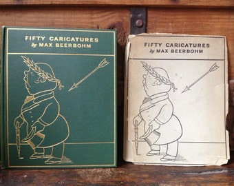 Fifty Caricatures Book by Max Beerbohm Book, Printed in England, 1st Edition, Original Dust Cover, 50 Book Plates