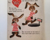 Valentine Card / Vintage Valentine Rabbit Cute Hallmark Fold Out Card used, signed on inside of card (I'll bet you guessed) 1960s-1970s