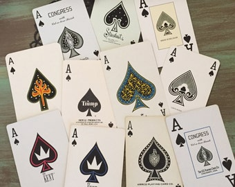 ACE of Spades Playing Cards / 11 Vintage Ace Cards Great for Altered Art, Mixed Media, Collage #101