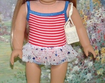 Stars and Stripes Tank Style Bathing Suit for American Girl