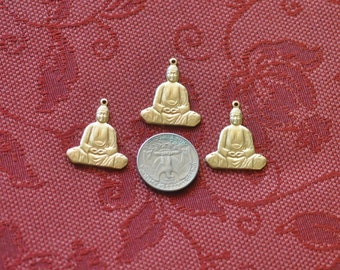 Three Sitting Buddha Charms  SHIPPING INCLUDED