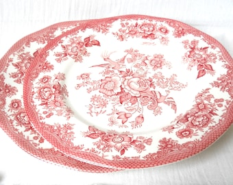 2 vintage dinner plates red floral english transfer ware Wedgwood Asiatic Pheasants stoneware floral dinner plates