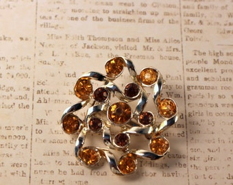 Light Gold Tone Brooch with Amber Stones