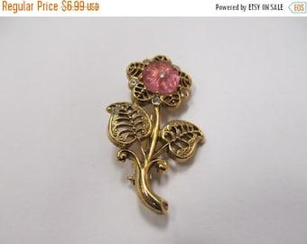 ON SALE 1928 Manufacturing Company Pink Flower Rhinestone Pin Item K # 1936