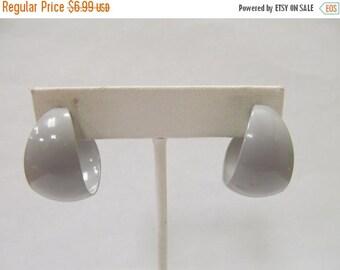 On Sale Retro Grey Enameled Hoop Earrings Item K # 552