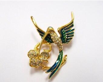 ON SALE Enameled Rhinestone Humming Bird Pin Item K # 518