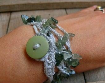Moss agate bracelet necklace, Moss agate chips gemstone, crochet linen bracelet, Bohemian bracelet, Boho romantic, mascot for gardeners