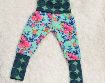 Mint Floral Roses Infant/Toddler Leggings with Yoga Top Waistband and Ankle Cuffs