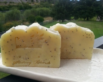 Lemon verbena scented with poppyseeds cold process soap