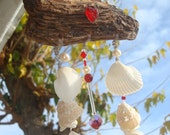Valentine's White Wedding Seashell Sea Glass Red Crystal Silver Suncatcher Windwhime