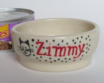 Personalized Cat Food Dish, Cat Dish, Name Cat Food Dish, Custom Cat Dish, Ceramic Cat Dish, Made to Order