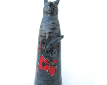 Ceramic Cat Sculpture, Grey Tabby Cat, Handpainted Poppies, Ceramic Stoneware, Cat Home Decor, Cat Gift, Grey Tabby Cat Art,Made to Order