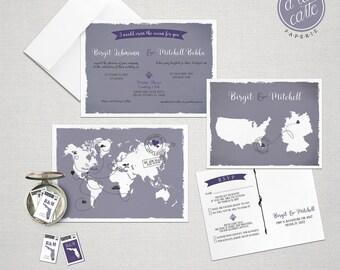 Destination wedding invitation Bilingual World Map Destination Wedding Invitation RSVP Postcards Lilac Purple Grey Colors German English
