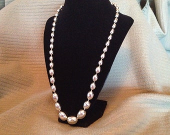Vintage Silver Acrylic Beaded Necklace, Length 22''