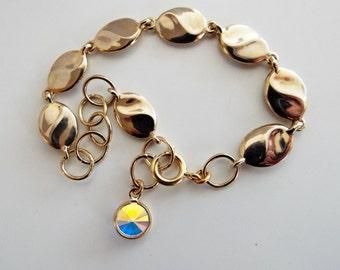 Vintage Chain Bracelet with Aurora Borealis charm