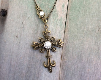Crown and Cross Necklace/Victorian/Edwardian