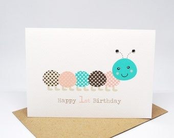 1st Birthday Card Girl - Pink and Brown Caterpillar - HBC212 / Happy 1st Birthday for the Birthday Girl