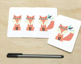 Mini Gift Card Pack + Envelopes - Fox with Feathers - Set of 4 Rounded White Small Cards - GC03