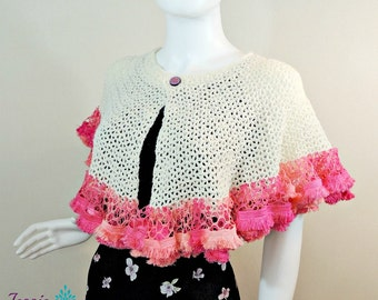 Winter White Sashay Capelet - Crochet PATTERN PDF ONLY