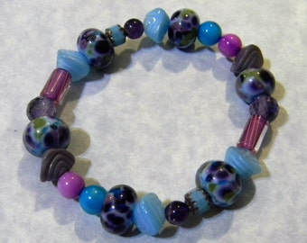 Shades of Blue, Purple and Fuchsia Art Glass, Gemstone, Pressed Glass, CZ, Furnace and Cathedral Bead Bracelet