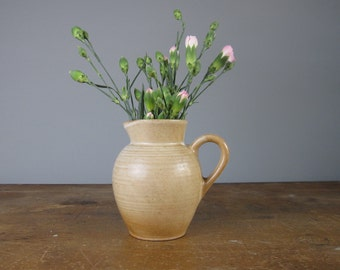 Vintage Stoneware French Pitcher / Studio pottery / Stoneware / vintage Jug / Made in France / *12
