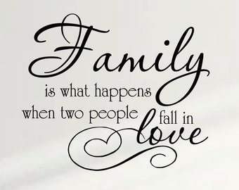 Family Is What Happens When Two People Fall In Love Wall Decal Nursery Quote Decor#1334