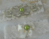 Wedding Garter- Green Garter Set- Pearl Wedding Garter- Ivory Lace Garter